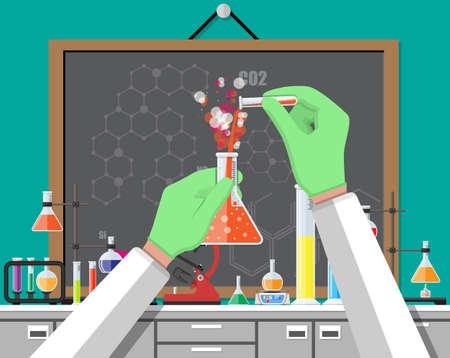 Wetenschappelijk experiment in laboratorium. Verlichtingsapparatuur, potten, bekers, flessen, microscoop, geestlamp. Biologie wetenschappelijk onderwijs medisch in platte stijl