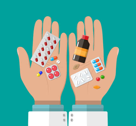 Hand of the pharmacist with pills and drugs. Pharmacy shop. Rx in flat style