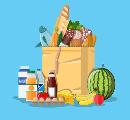 Paper shopping bag full of groceries products. Grocery store. Supermarket. Fresh organic food and drinks in flat style