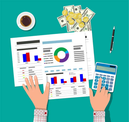 tax accountant: Financial calculations, working process. Businessman hands, calculator, financial reports, money, coins, pen and coffee cup in flat style Illustration