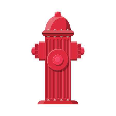 Red fire hydrant. Fire equipment. Vector illustration in flat style