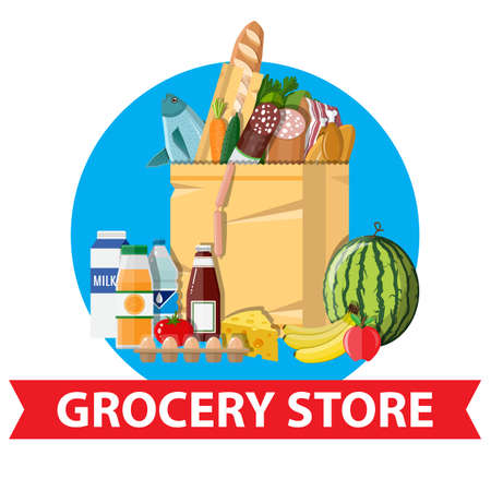 basketful: Paper shopping bag full of groceries products. Grocery store. Supermarket. Fresh organic food and drinks. Vector illustration in flat style
