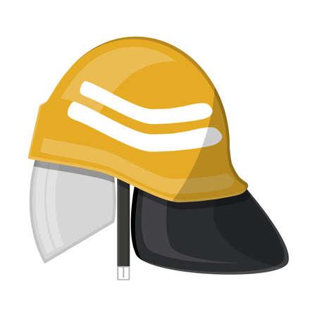 Brandweerhelm. Brandapparatuur. Vector illustratie in platte stijl