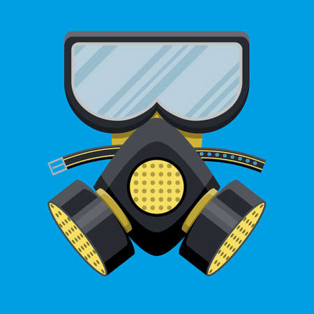 Modern gas mask respirator. Fire equipment. Vector illustration in flat style