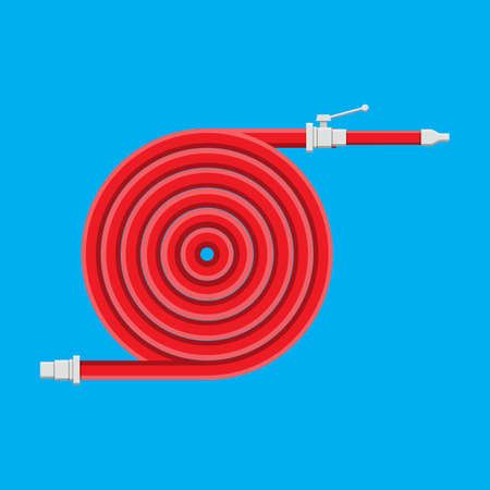 Water hose to extinguish the fire. Fire equipment. Illustration