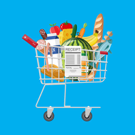 Shopping cart full of groceries and receipt Illustration