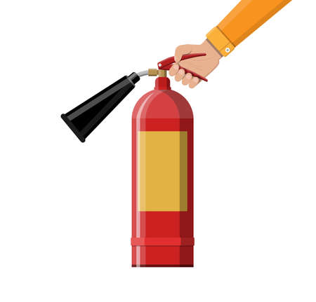 Fire extinguisher in hand. Fire equipment. Vectores