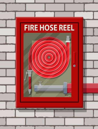 벽돌 벽에서 캐비닛의 불을 끄는 물 호스. 화재 장비. 플랫 스타일의 벡터 일러스트 레이션 일러스트