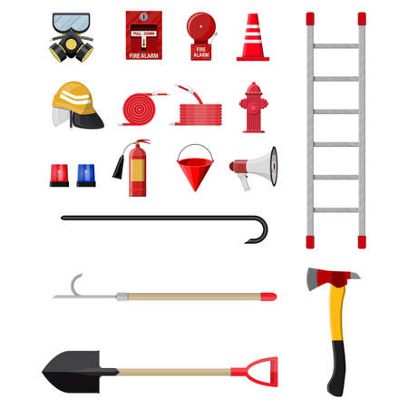 hatchet: Firefighting set. Fire protection equipment. Vector illustration in flat style