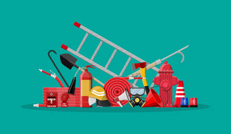 Firefighting set. Fire protection equipment. Vector illustration in flat style