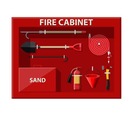 Fire cabinet. Firefighting set. Fire equipment.