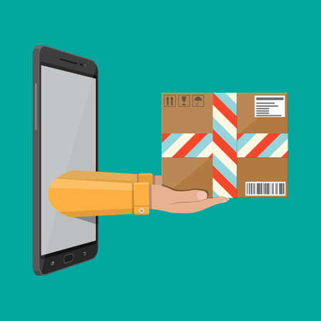 Hands with postal cardboard box and smartphone. Delivery concept. Flat style vector illustration