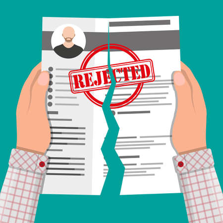 refuse: Rejected resume concept. Illustration