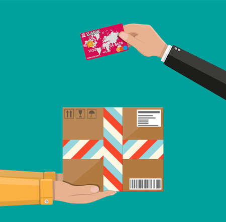 Hands with postal cardboard box and bank card.