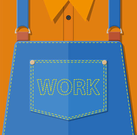 Blue jeans apron with outsets and pocket. Illustration