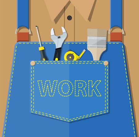 Blue jeans apron with outsets and pocket. Vektorové ilustrace