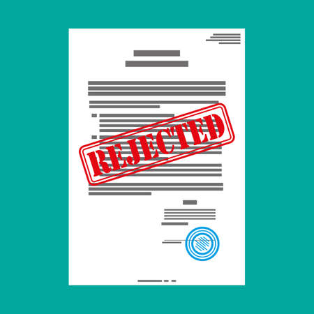 denial: Rejected paper document, red rejected stamp. Vector flat illustration in flat style