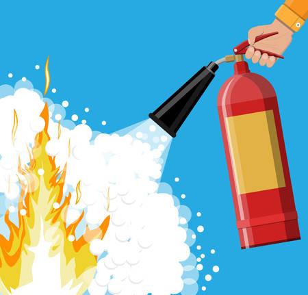 Brandblusser bij de hand met schuim. Brandapparatuur. Vector illustratie in platte stijl