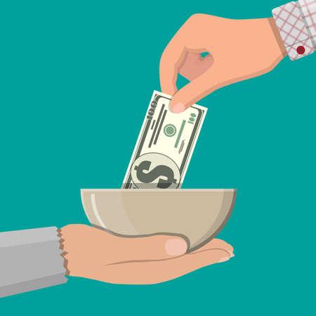 Hand die dollarbankbiljet geeft aan bedelaarshand. Liefdadigheid concept. Vectorillustratie in vlakke stijl Stock Illustratie