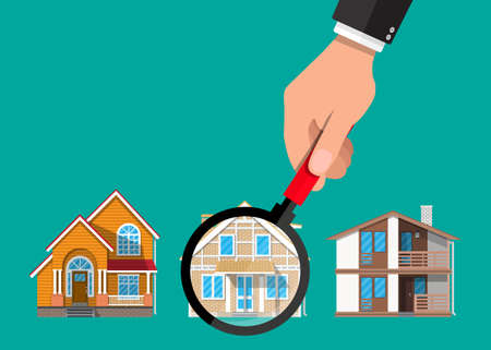 Hand with magnifying glass selects house. Real estate, sale and rent house. Vector illustration in flat style Ilustração