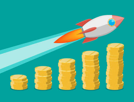 fly up: Rocket flying up on coins growth chart. Graph that shows increase in sales. Business success. Vector illustration in flat style