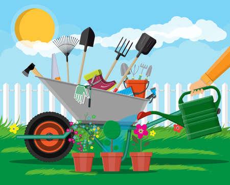 Gardening tools set. Equipment for garden. Saw bucket ax wheelbarrow hose rake can shovel secateurs gloves boots. Wooden fence, flower, grass, tree, sky, cloud. Vector illustration in flat style Illustration