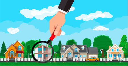 suburban street: Hand with magnifying glass selects house. Village, flowers, trees, road, sky and clouds. Real estate, sale and rent house. Vector illustration in flat style
