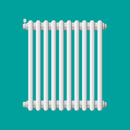 Verwarming radiator. Retro verwarmingssysteem. Vectorillustratie in vlakke stijl