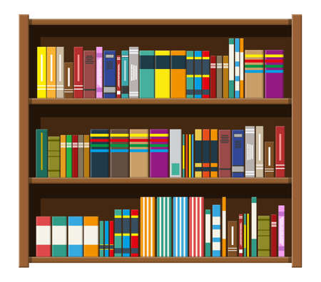 Library book shelf. Bookcase with different books. Stock Illustratie