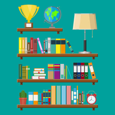 Library wooden book shelf. Globe, lamp, clocks, cactus, cup. Bookcase with different books. Vector illustration in flat style Illustration
