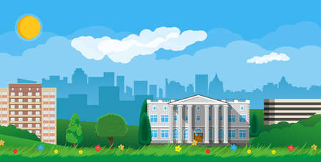 residental: Modern city view. Cityscape with office and residental buildings, city park with trees and flowers, sky, sun and clouds illustration in flat style Illustration