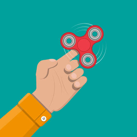 Hand spinner. Antistress toy, fidget spinner. Vector illustration in flat style