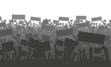 Silhouet van het juichen of protesteren van menigte met vlaggen en banners.