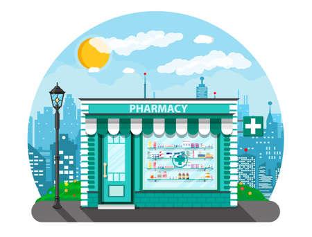 penicillin: Modern exterior pharmacy or drugstore.