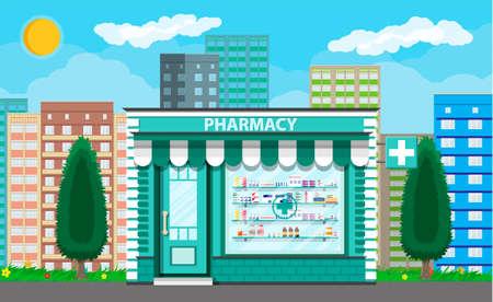 Farmacia exterior moderna o farmacia. Ilustración de vector