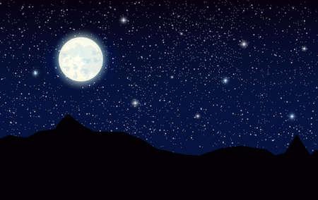 Paysage de l'espace avec des montagnes de silhouette et de la pleine lune. Ciel avec des étoiles. Illustration vectorielle Banque d'images - 81812800
