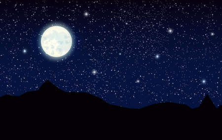 Space landscape with silhouette mountains and full moon. Sky with stars. Vector illustration Illustration