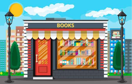 Boekwinkel of winkelgebouw aan de buitenkant. Bibliotheek boekenplank. Boekenkast met verschillende boeken. Stadsgezicht, gebouwen, zon, wolken. Vectorillustratie in vlakke stijl