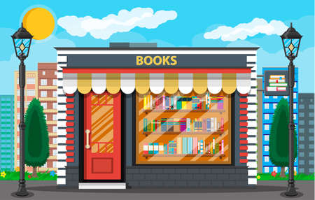 Book shop or store building exterior. Library book shelf. Bookcase with different books. Cityscape, buildings, sun, clouds. Vector illustration in flat style