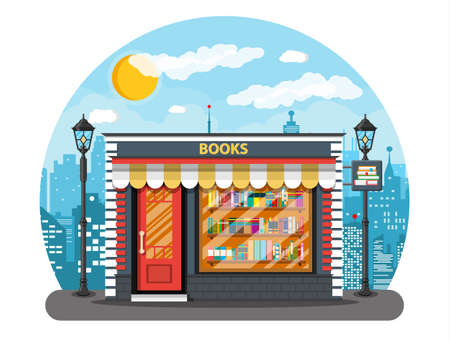 store shelf: Book shop or store building and cityscape