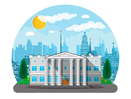 Bank building with city skylines and trees behind. Road, street. Blue sky with clouds and sun. Vector illustration in flat style Stock Vector - 81816636