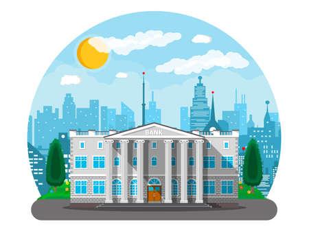 Bank gebouw met stad skylines en bomen achter. Weg, straat. Blauwe lucht met wolken en zon. Vectorillustratie in vlakke stijl Stock Illustratie