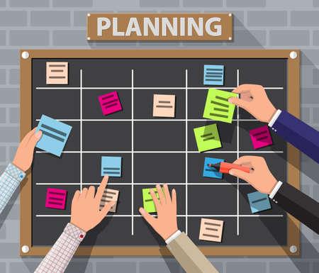 Tablón de anuncios que cuelga en la pared de ladrillo por completo de tareas en tarjetas y manos pegajosas de nota. Desarrollo, trabajo en equipo, agenda, lista de tareas. Ilustración de vector en estilo plano
