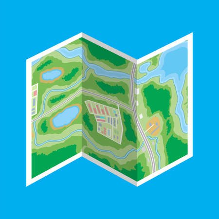 lake district: Folded paper city map icon.