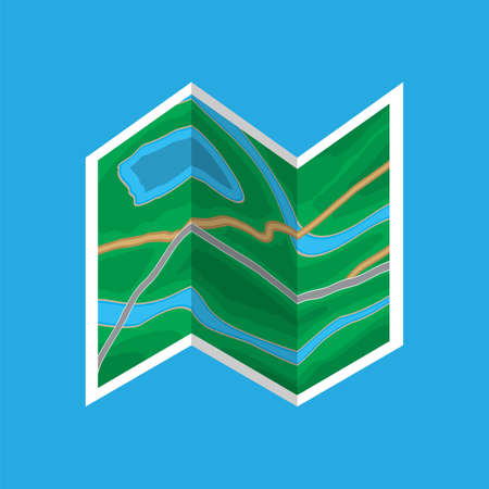 Folded paper city map icon.