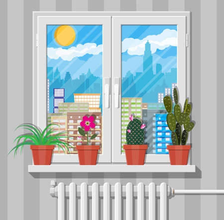glass reflection: White window with flowers on wall, city skyline