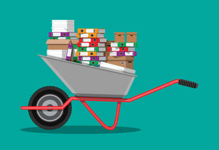 Pile of paper documents and file folders. Carton boxes. Bureaucracy, paperwork, overwork, moving to new office. Vector illustration in flat style Illustration