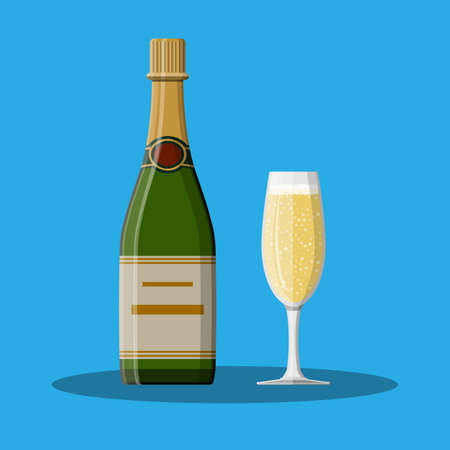Bottle of champagne and glass. Champagne alcohol drink. Vector illustration in flat style