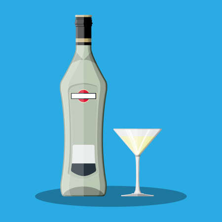 Vermouth bottle with glass. Vermouth alcohol drink. Vector illustration in flat style