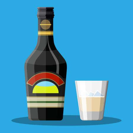 Bottiglia di caffè al cioccolato liquore alla crema e vetro Vettoriali